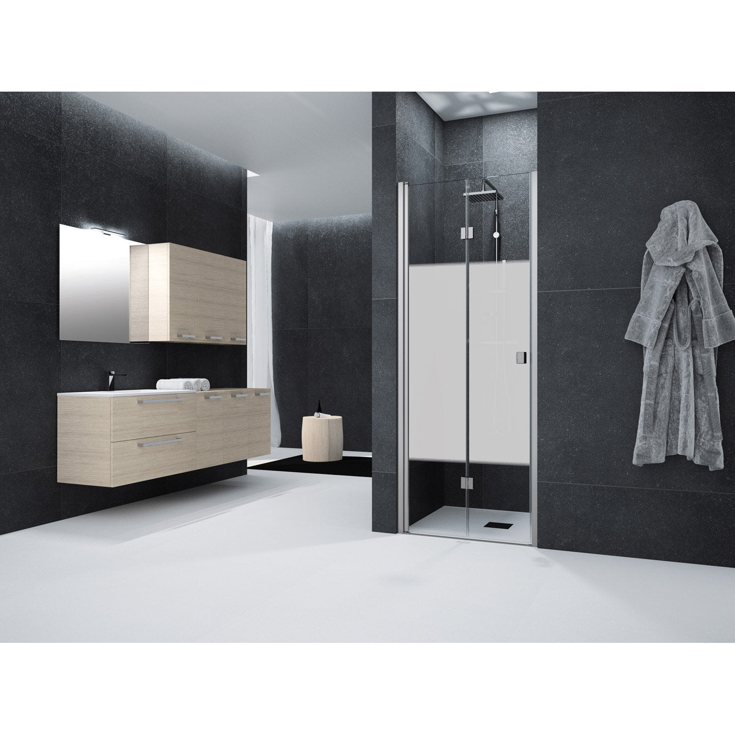 porte de douche pivot pliante 70 cm s rigraphi neo leroy merlin. Black Bedroom Furniture Sets. Home Design Ideas