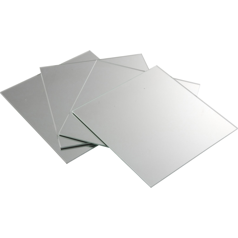 Lot de 4 miroirs non lumineux adh sifs carr s x for Miroir 50 x 50