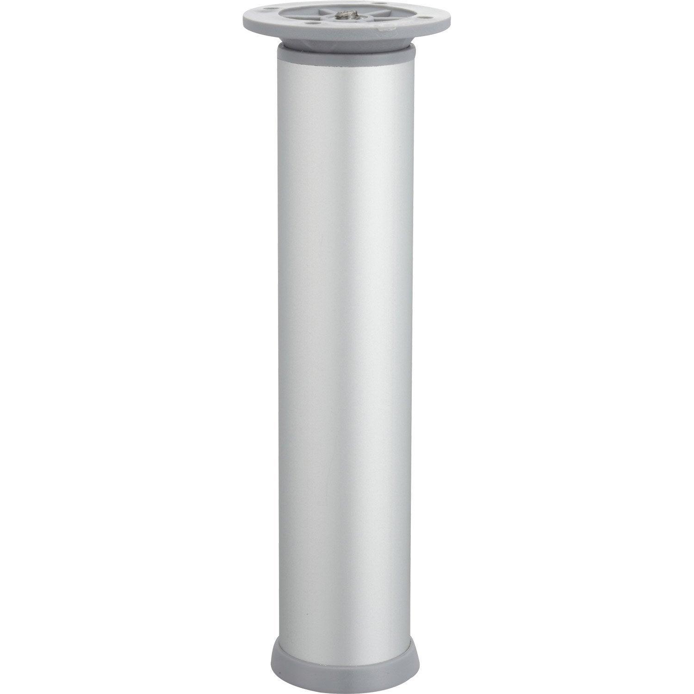 Pied de meuble cylindrique r glable acier mat gris de 20 for Pieds meubles salle de bain