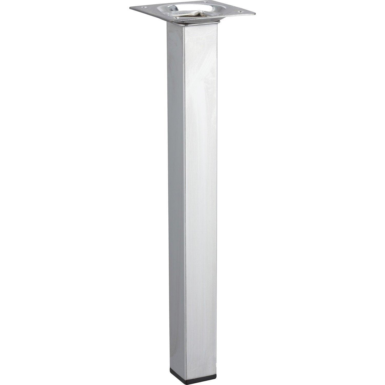 Pied de table basse carr fixe acier chrom gris 25 cm - Pieds de table leroy merlin ...