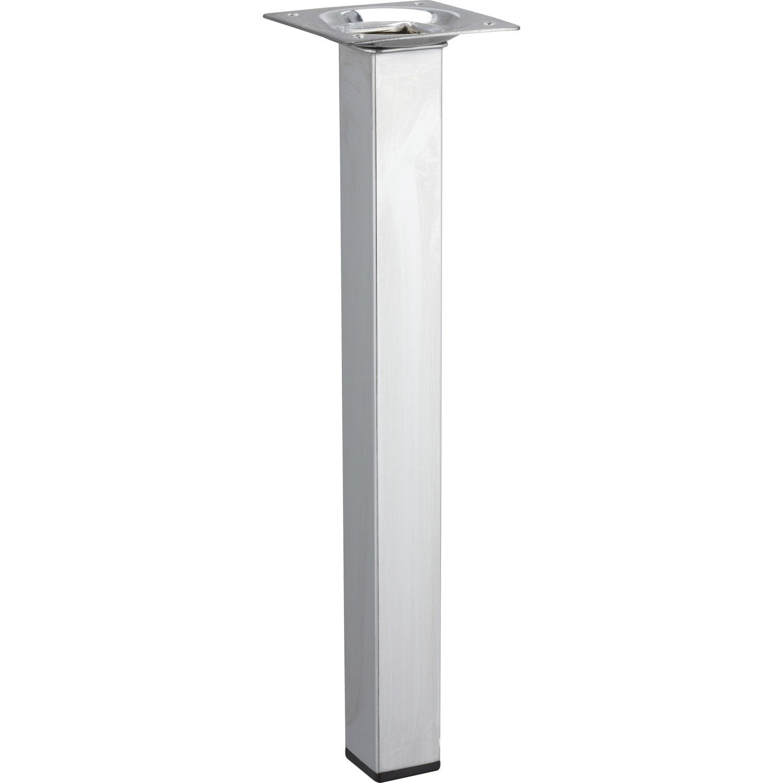 Pied de table basse carr fixe en acier chrom gris 25cm - Pieds de table leroy merlin ...