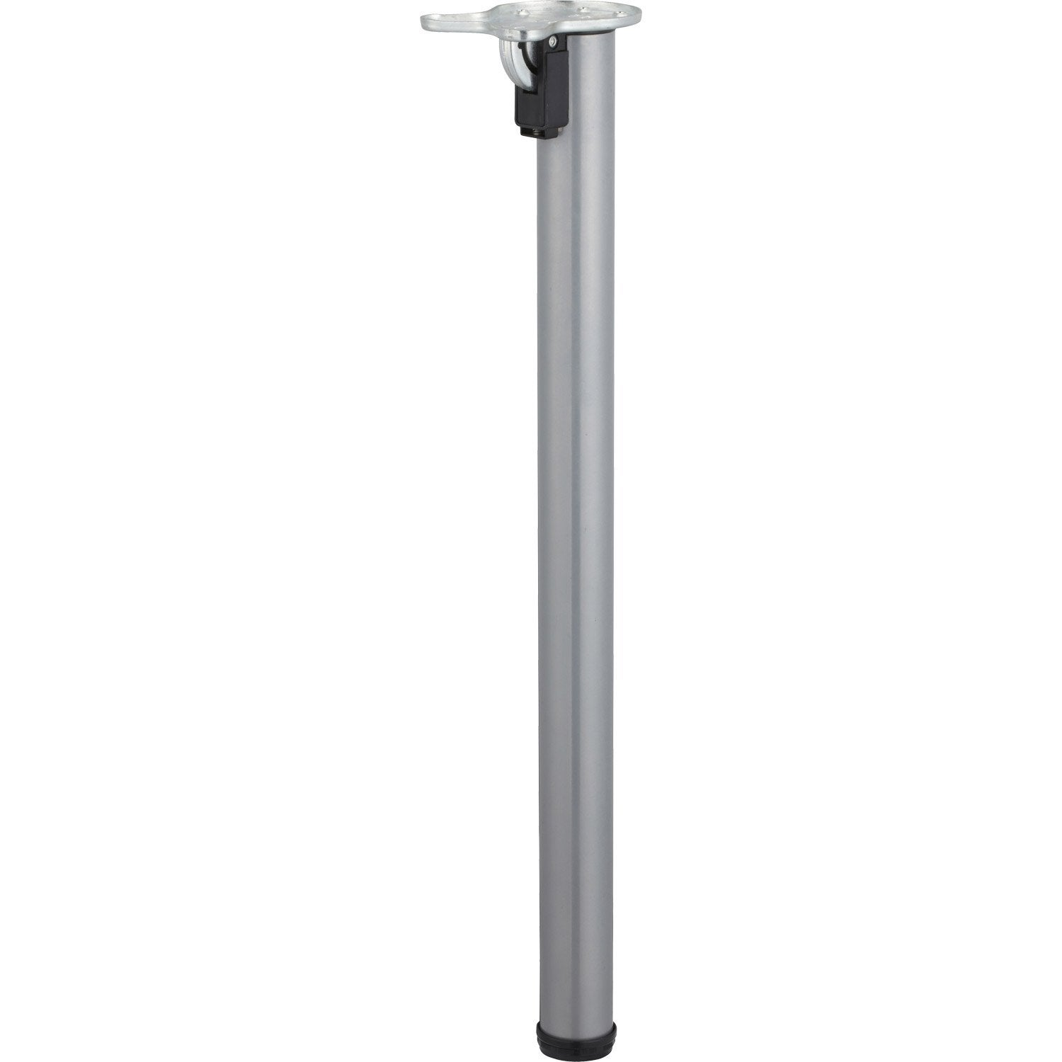 Pied de table cylindrique rabattable acier poxy gris 71 for Table un pied