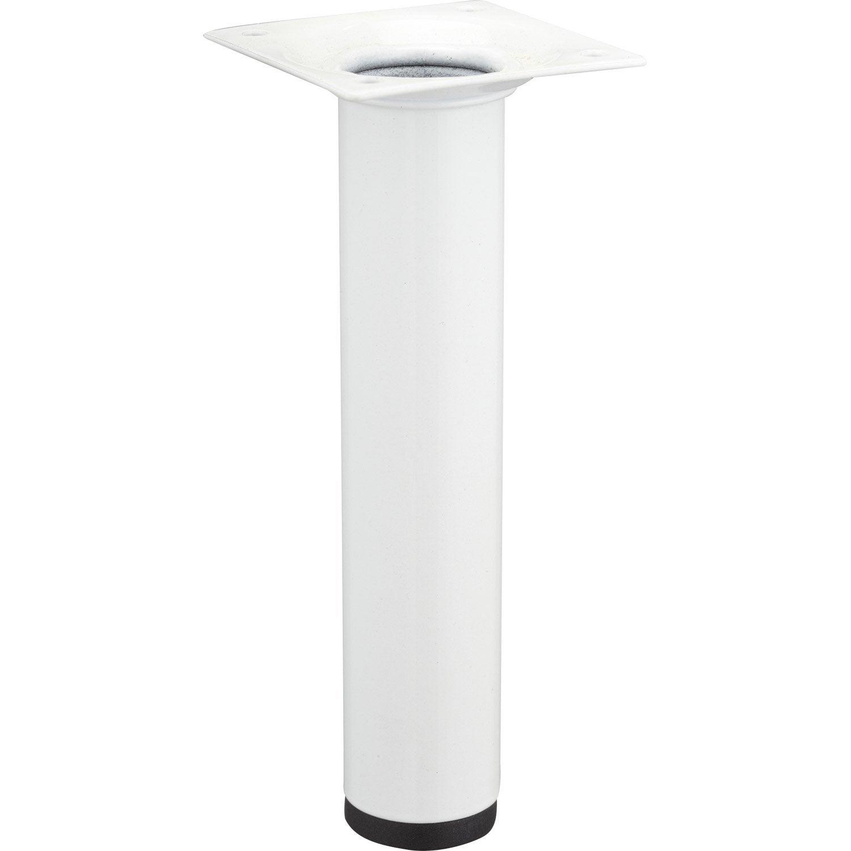 Pied de meuble cylindrique fixe acier poxy blanc 15 cm leroy merlin - Leroy merlin pied meuble ...