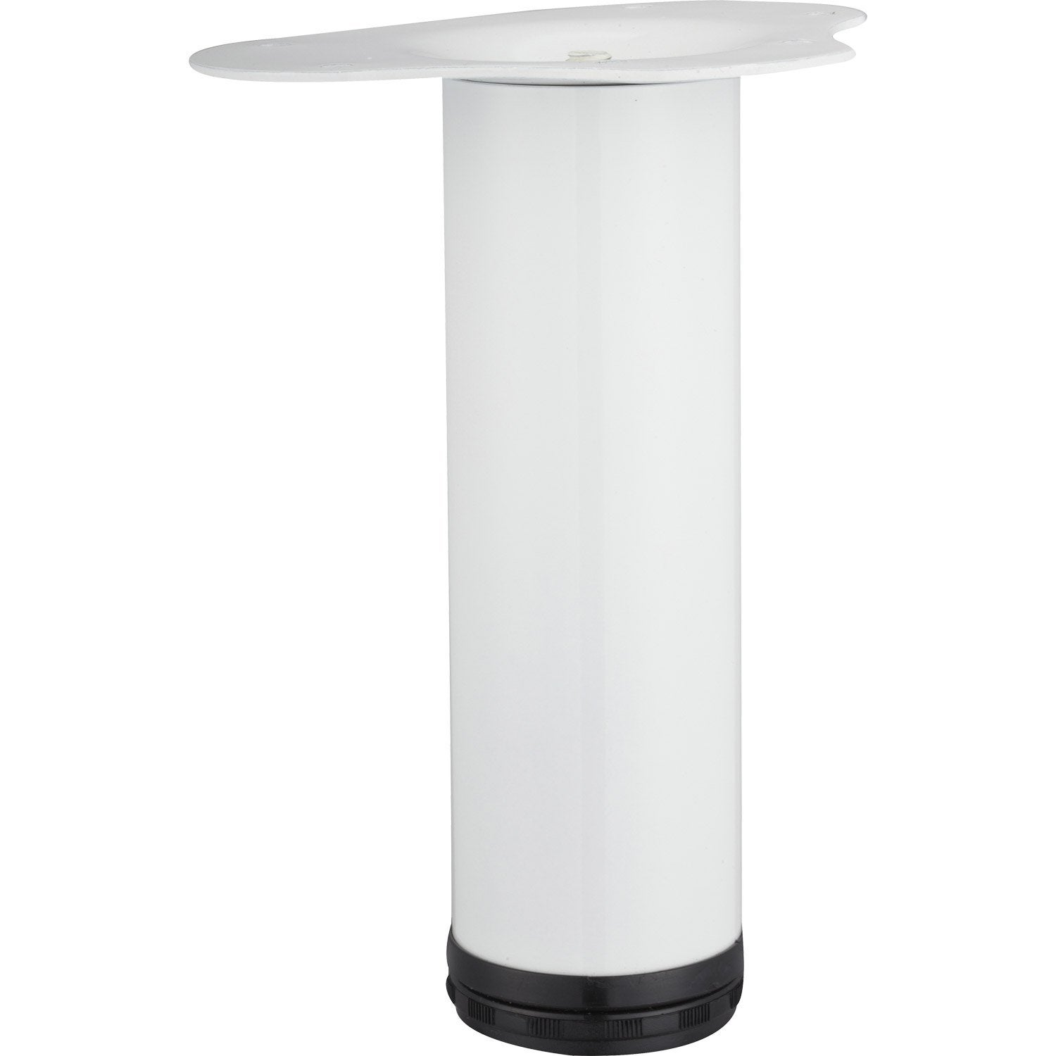 Pied de table basse cylindrique r glable acier epoxy blanc - Pied de table basse leroy merlin ...