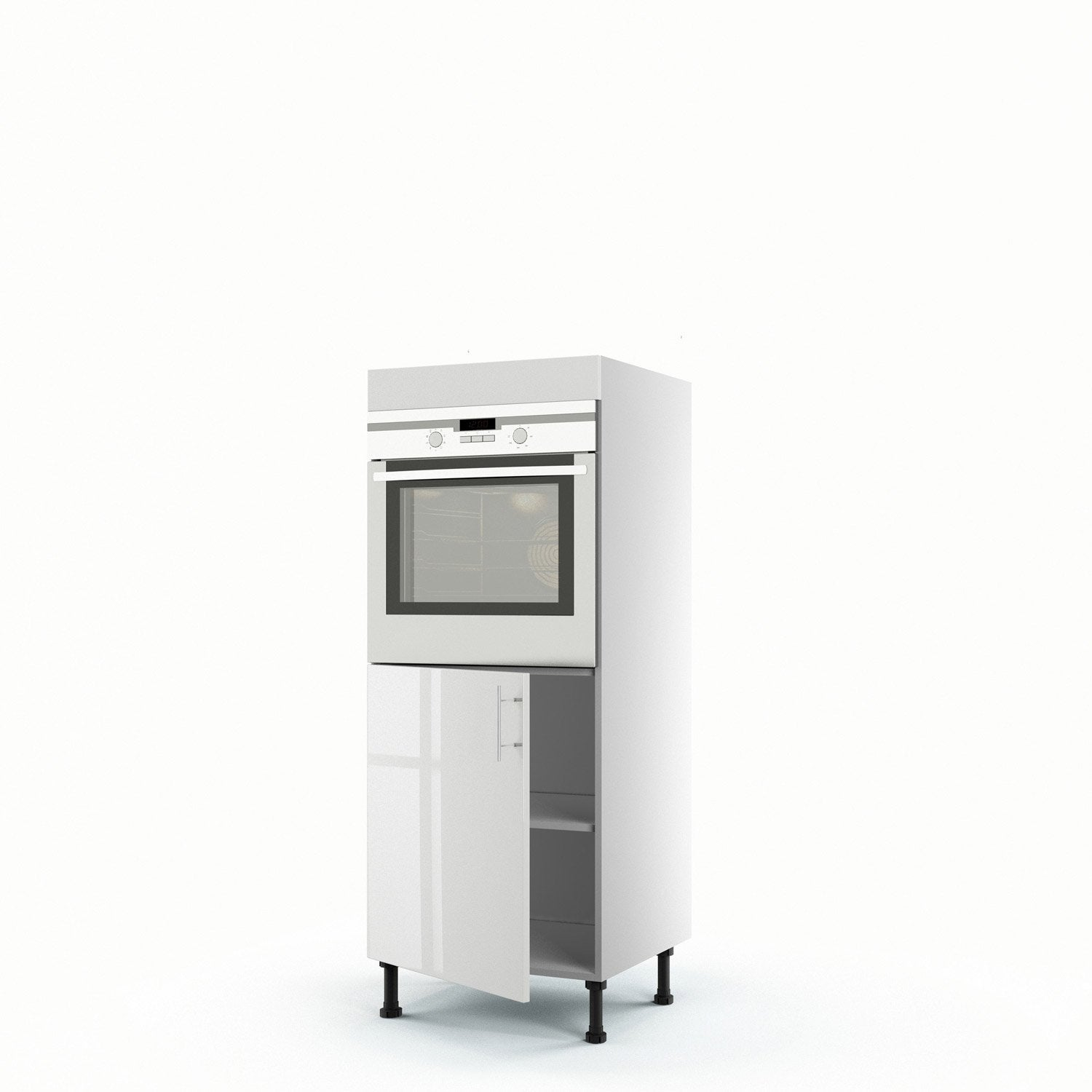 Meuble de cuisine demi colonne blanc four 1 porte rio h for Portes elements cuisine leroy merlin