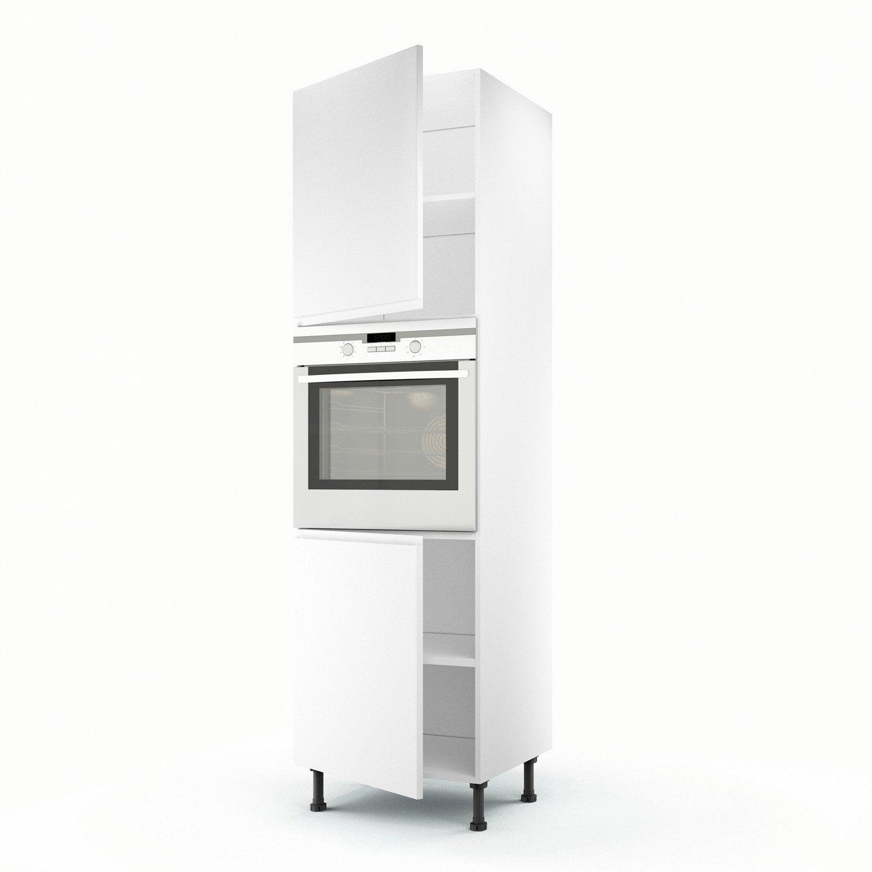 Meuble de cuisine colonne blanc 2 portes graphic x l for Voir cuisine leroy merlin