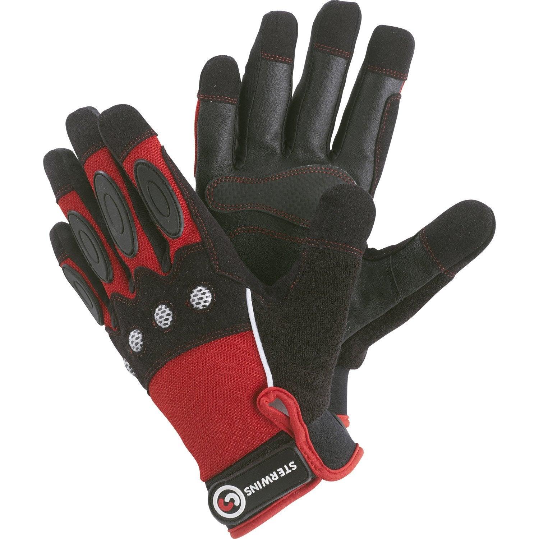 gants de manutention gros travaux sterwins rouge et noir. Black Bedroom Furniture Sets. Home Design Ideas