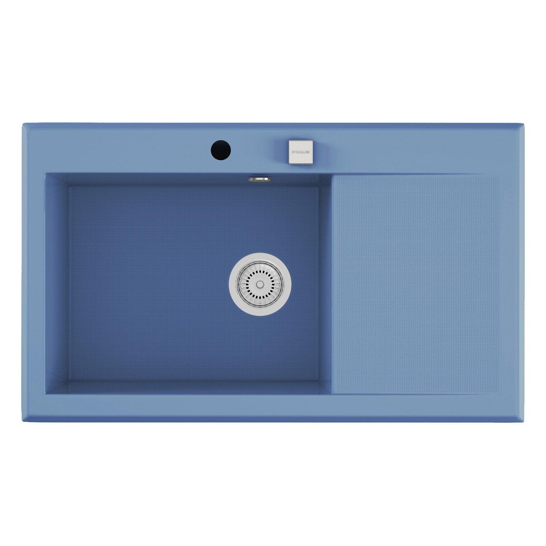 evier encastrer quartz et r sine bleu shira 1 bac avec gouttoir leroy merlin. Black Bedroom Furniture Sets. Home Design Ideas