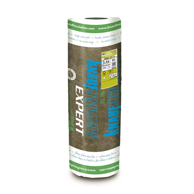 Laine de verre nu knauf insulation 7 4 x 1 2 m ep 100 mm 035 r ler - Laine de verre leroy merlin 200 ...