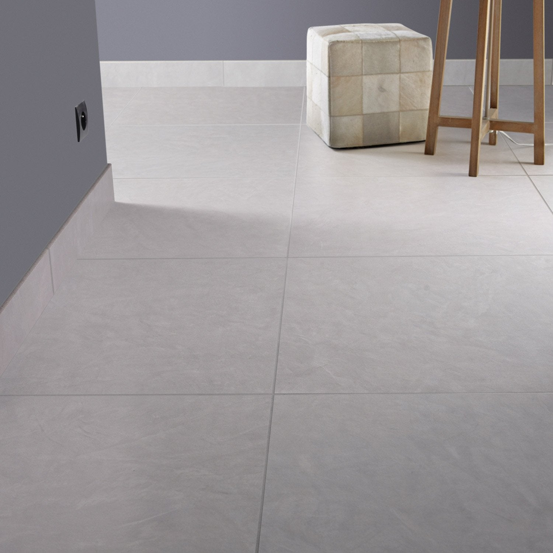 Carrelage sol et mur fer blanc reflex effet b ton studio l for Carrelage sol interieur 60x60