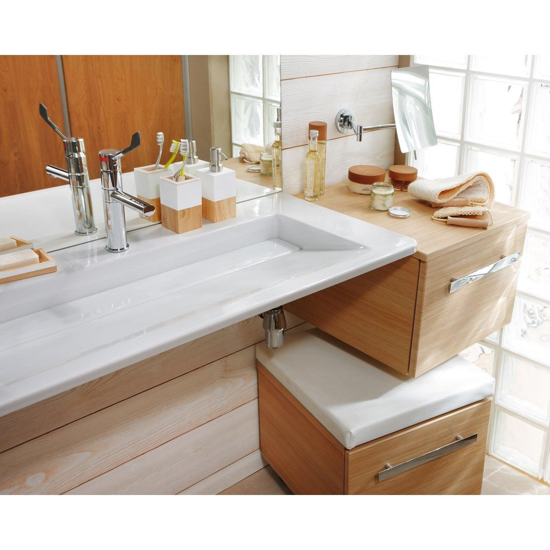 Plan vasque source en c ramique blanc 105 5 x 49 cm for Leroy merlin plan vasque