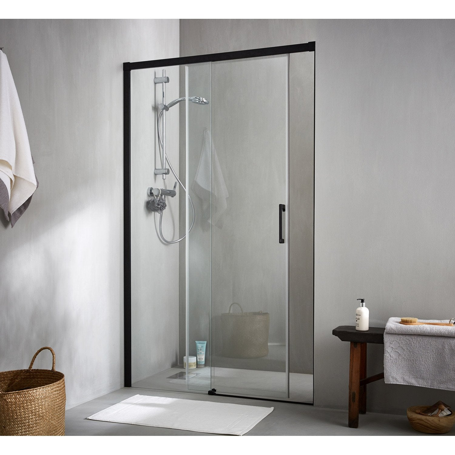 Porte de douche coulissante 120 cm transparent remix for Porte de chambre leroy merlin
