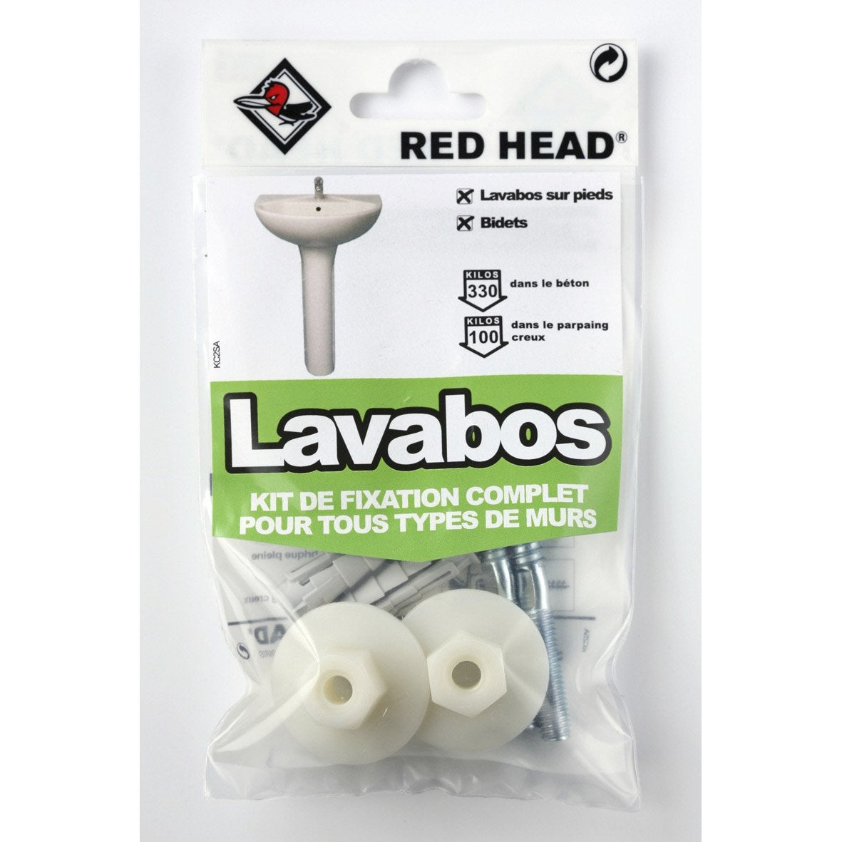 Kit chevilles expansion lavabo red head x for Fixation lavabo leroy merlin