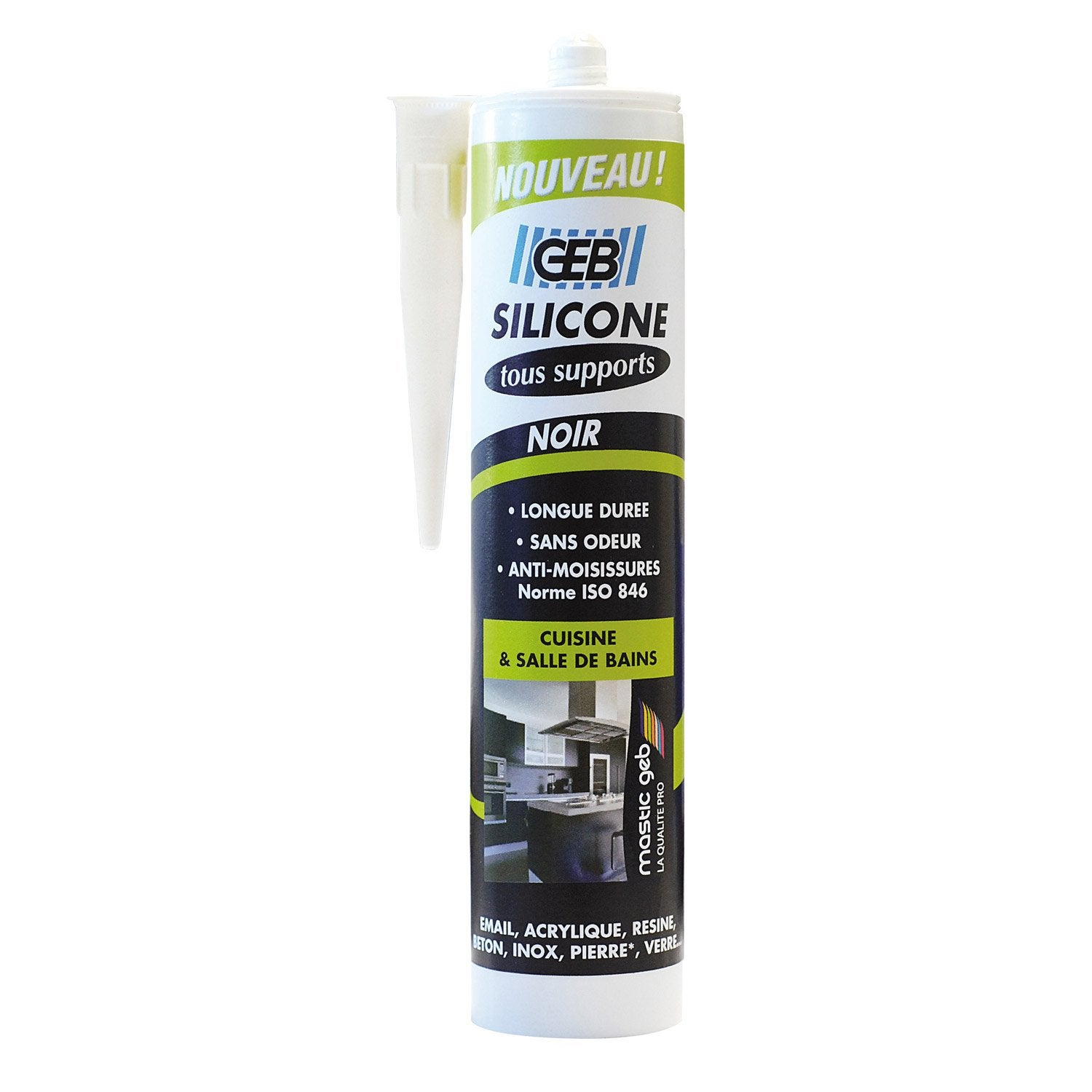 Silicone geb noir 280 ml leroy merlin for Peinture haute temperature leroy merlin