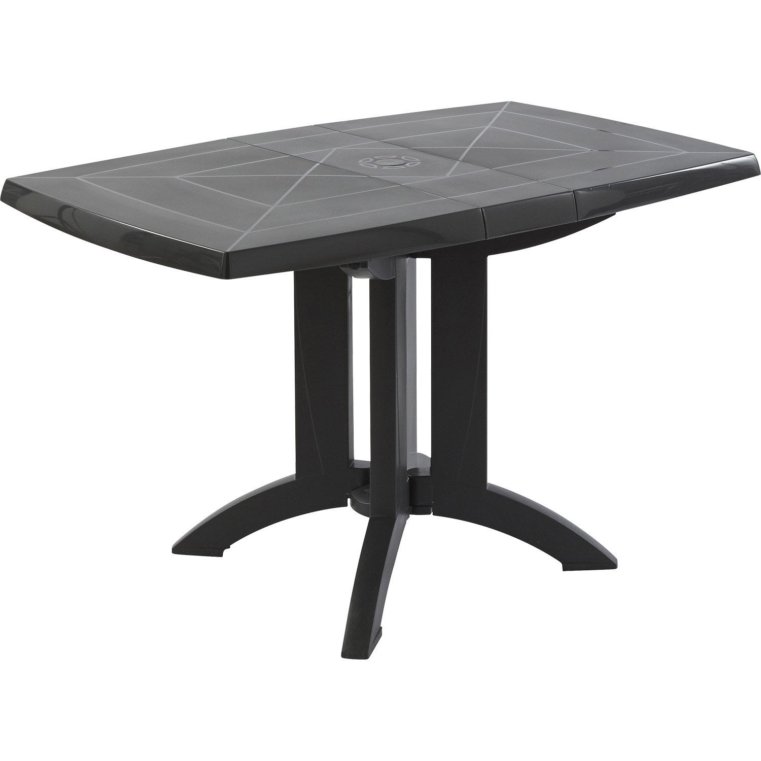 Table de jardin grosfillex v ga rectangulaire anthracite 4 personnes leroy merlin - Table de jardin extensible en plastique ...