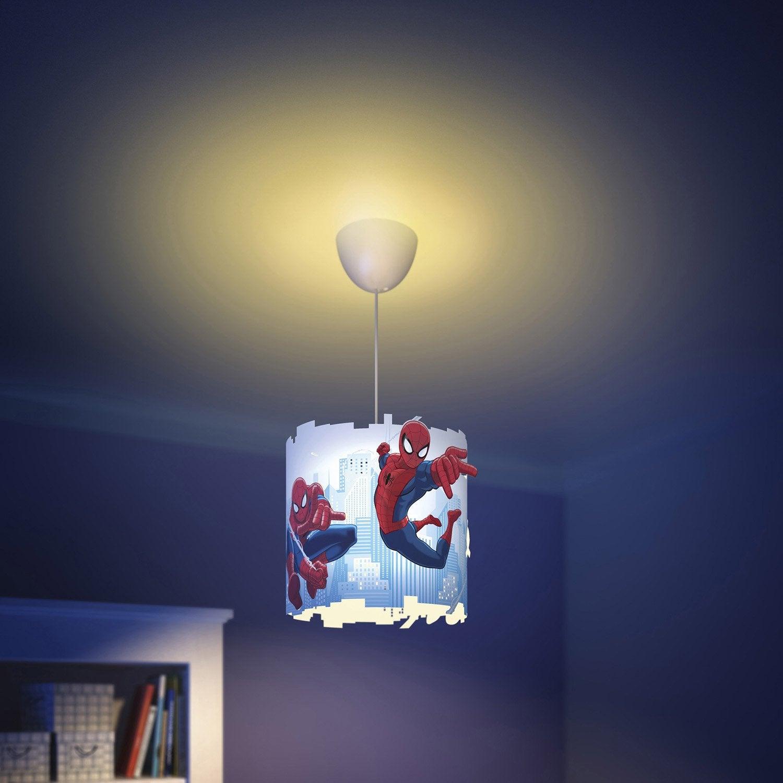 Suspension Enfant Spiderman synth u00e9tique multicolore 1 x 60 W PHILIPS   Leroy Merlin -> Lampadario Cameretta Spiderman