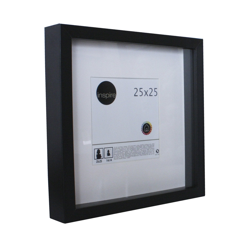 Cadre vitrine Lario, 25 x 25 cm, noir noir n u00b00 Leroy Merlin # Cadre Bois Leroy Merlin