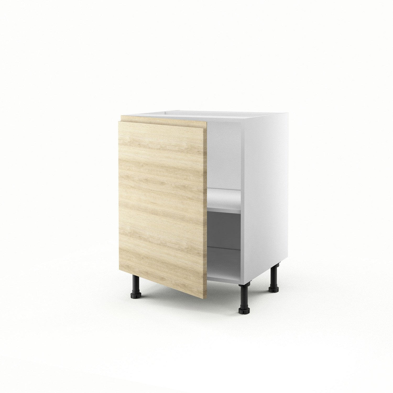 Meuble de cuisine bas d cor ch ne blanchi 1 porte graphic for Porte 60 x 70