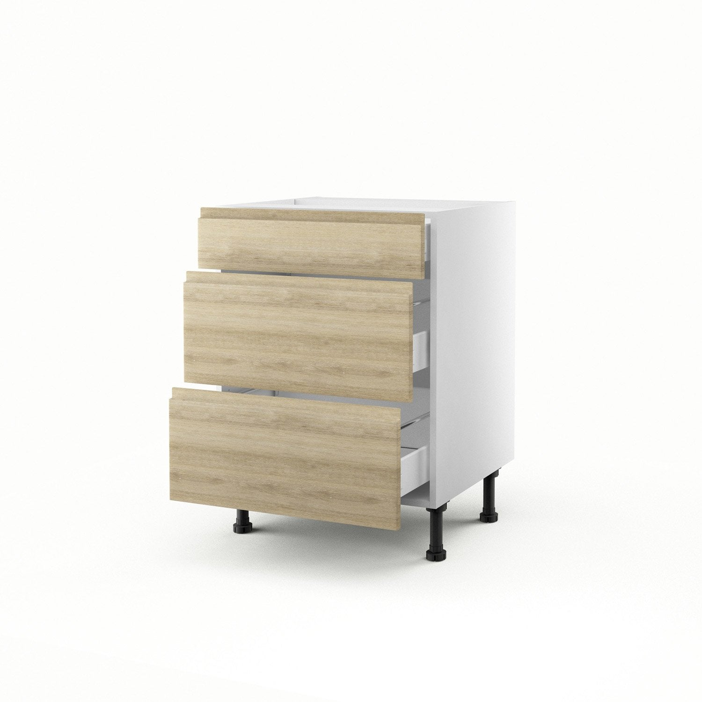 Meuble de cuisine bas d cor ch ne 3 tiroirs graphic x for Meuble bureau 60 x 60