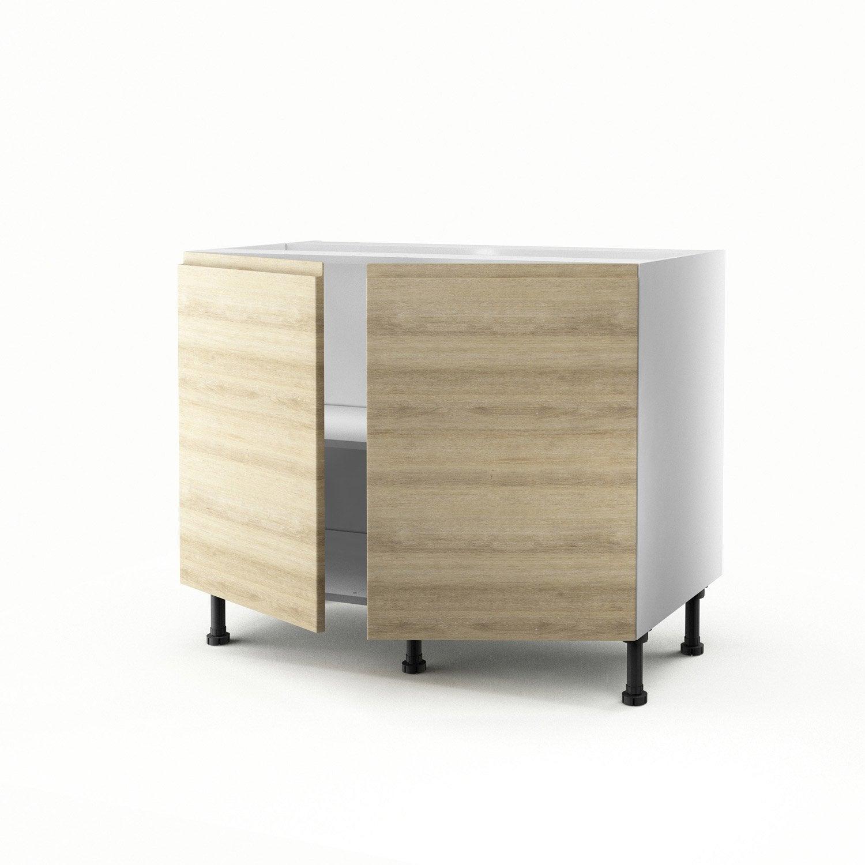 Meuble de cuisine bas d cor ch ne 2 portes graphic x for Meuble cuisine 100 cm