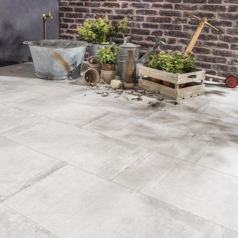 Carrelage gris effet b ton cardiff x cm - Terrasse carrelage gris ...