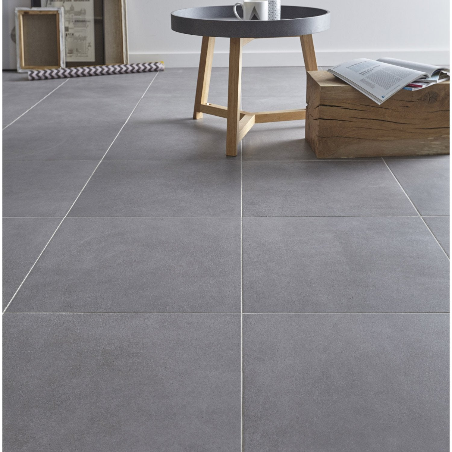 Carrelage sol gris effet b ton madison x cm for Carrelage grand carreaux gris