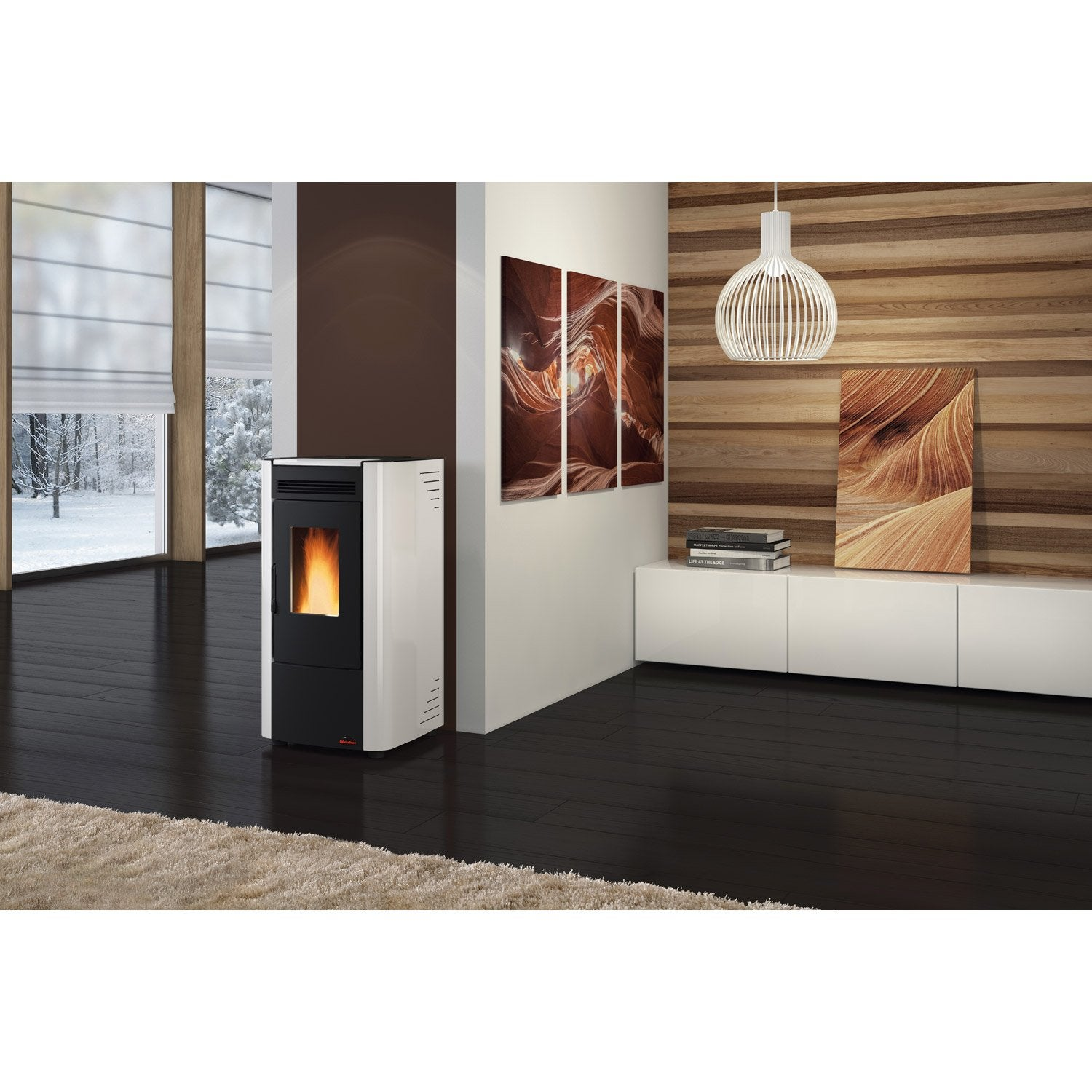 po le granul s extraflame ketty blanc 6 3 kw leroy merlin. Black Bedroom Furniture Sets. Home Design Ideas