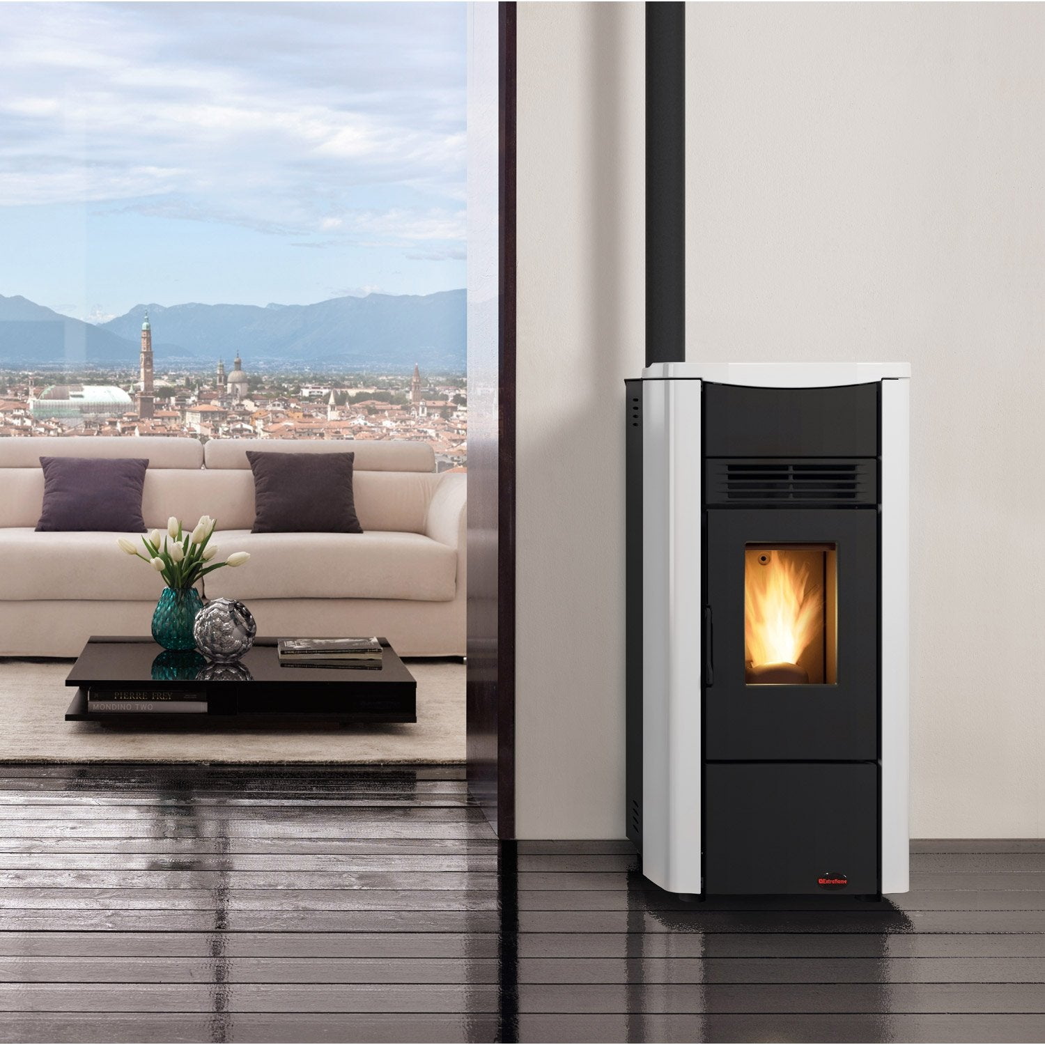 po le granul s extraflame giusy blanc 7 kw leroy merlin. Black Bedroom Furniture Sets. Home Design Ideas
