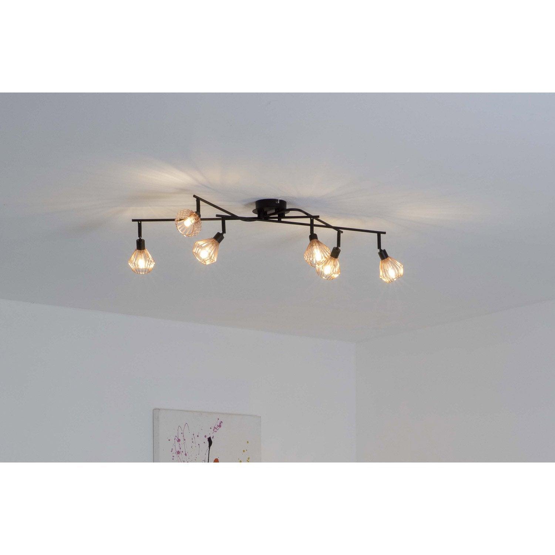 plafonnier 6 spots industriel dalma 6 xg9 noir brilliant. Black Bedroom Furniture Sets. Home Design Ideas