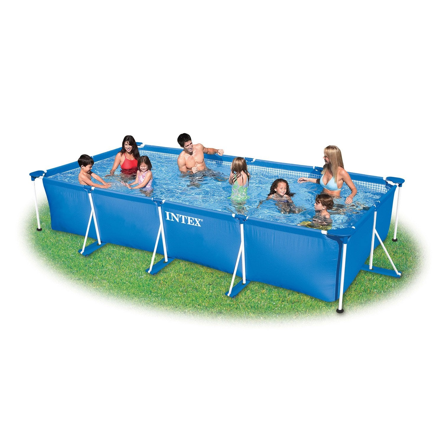 Piscine hors sol autoportante tubulaire intex l x l for Piscine sur sol