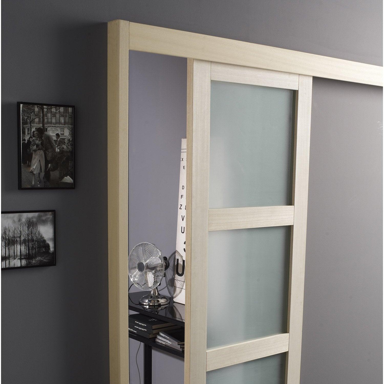 Rail coulissant et habillage aluminium jazz pour porte de - Habillage de porte leroy merlin ...