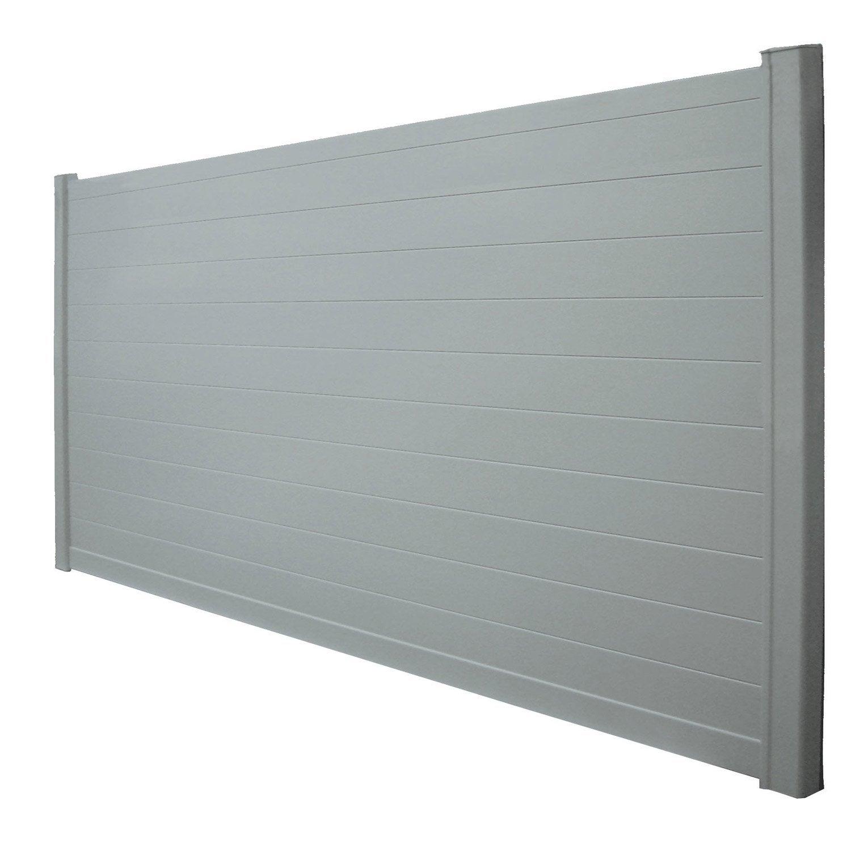 Portail coulissant aluminium lao gris anthracite naterial x cm - Lame pvc pour portail leroy merlin ...
