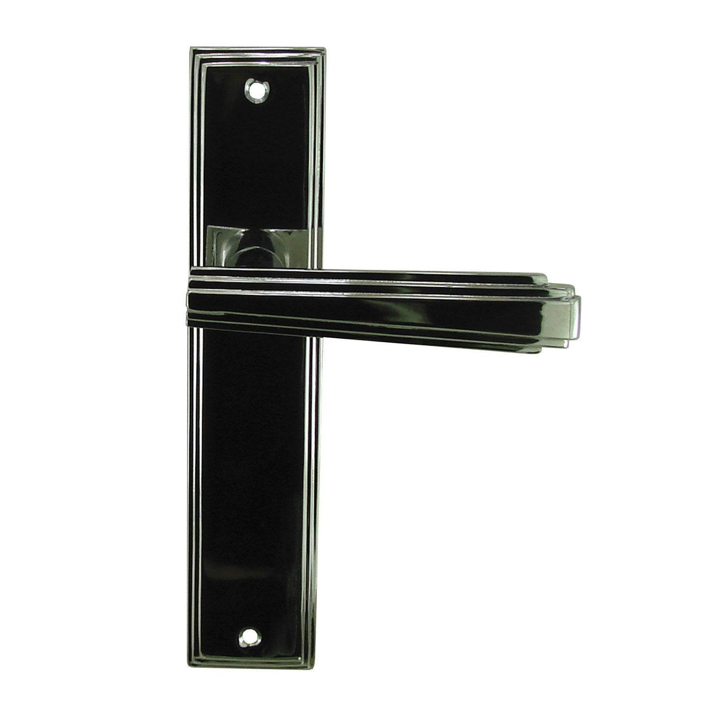 2 poign es de porte art d co sans trou aluminium 195 mm for Deco porte leroy merlin