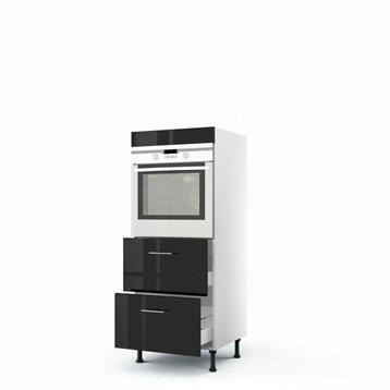 Meuble de cuisine demi-colonne noir four + 2 tiroirs Rio H.140 x l.60 x P.56 cm