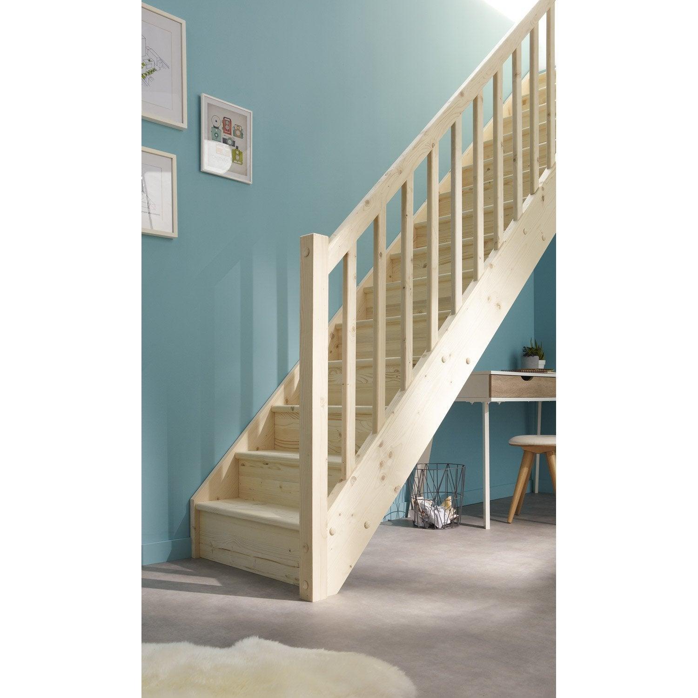 Escalier droit deva structure bois marche bois leroy merlin - Escalier en bois pas cher ...