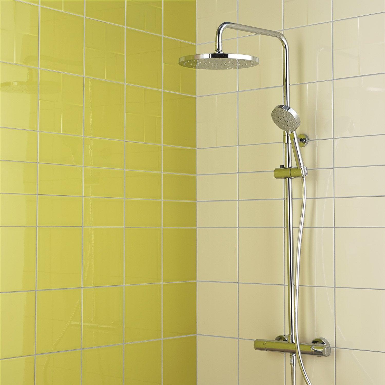 Fa ence mur blanc ivoire astuce x cm leroy merlin for Faience mur blanc