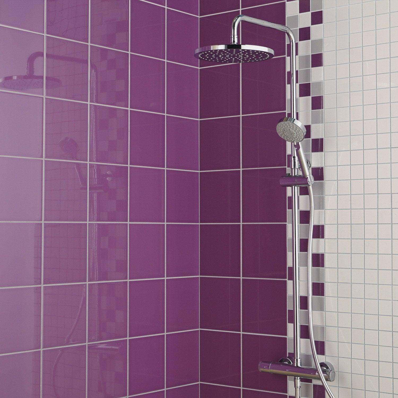 Fa ence mur violet tulipe astuce x cm leroy for Carrelage salle de bain violet