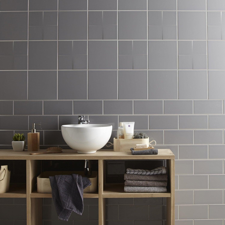 Fa ence mur gris galet astuce x cm leroy merlin for Enduit mur salle de bain