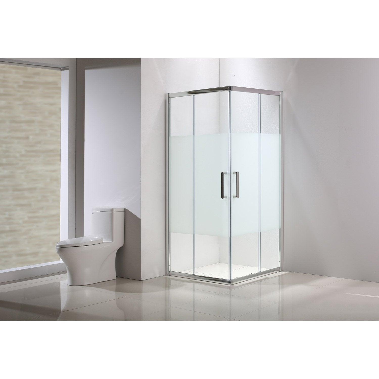 Porte de douche coulissante angle carr x cm s rigraphi quad - Porte douche coulissante 90 ...