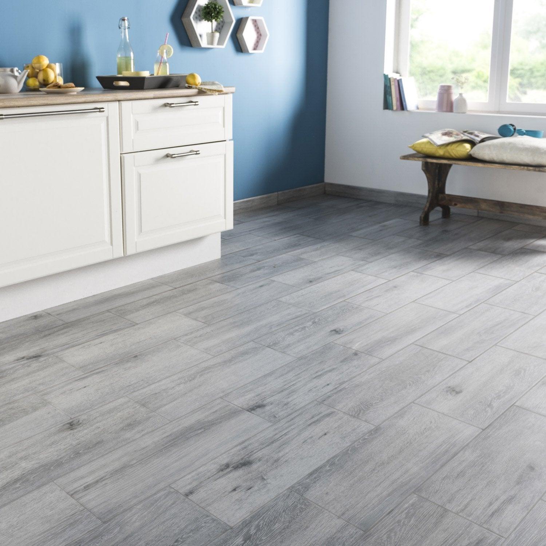 Carrelage sol et mur gris effet bois acadie x - Cuisine leroy merlin grise ...