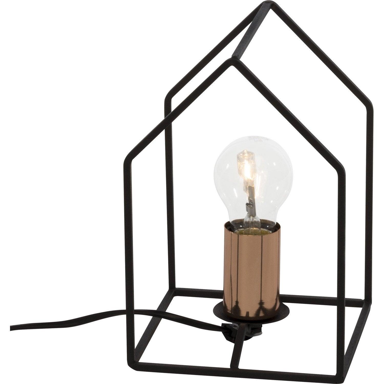 Lampe e27 home brilliant m tal noir 60 w leroy merlin for Porte metal 60