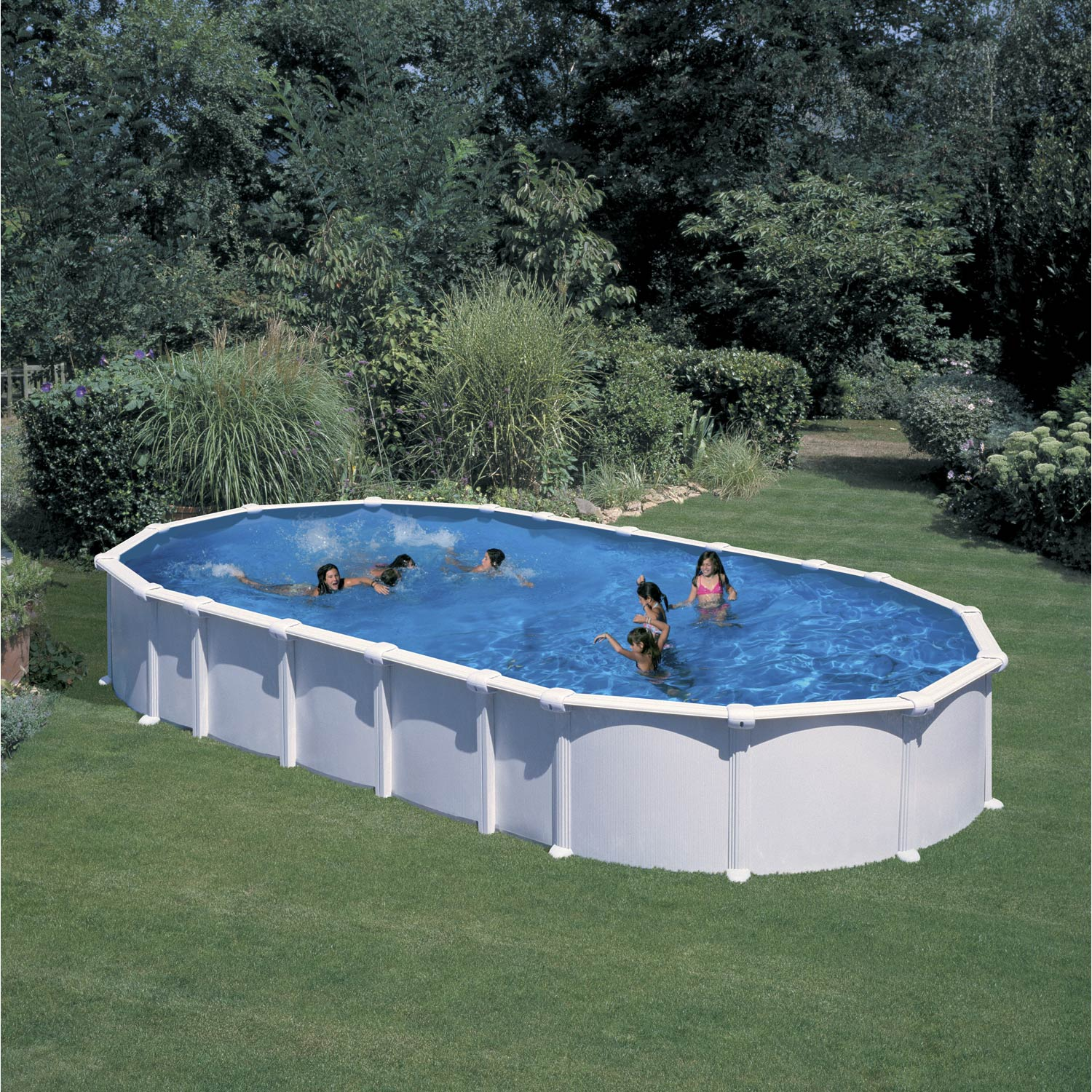 Piscine hors sol acier san clara l 6 4 x l x h for Piscine gonflable rectangulaire