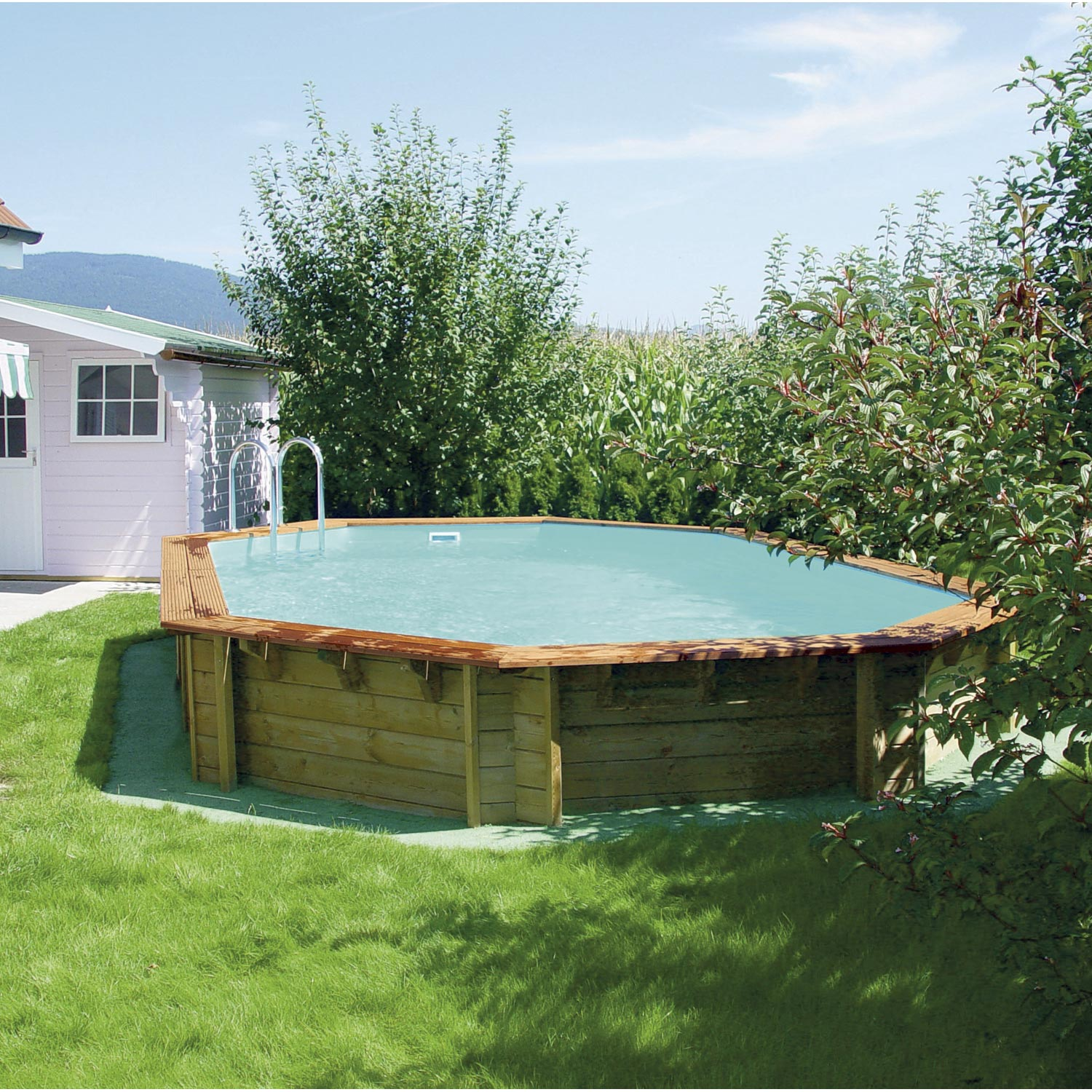 Piscine hors sol bois odyssea l 8 4 x l x h m for Piscine hors sol imposable