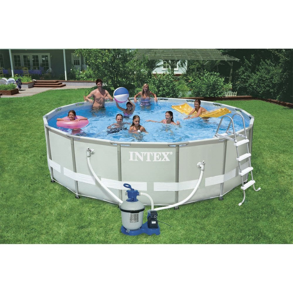 Piscine hors sol autoportante tubulaire ultra frame intex diam x h m leroy merlin for Piscine hors sol metal