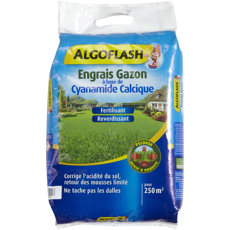 Engrais gazon antimousse ALGOFLASH 12 5 kg 250 m²