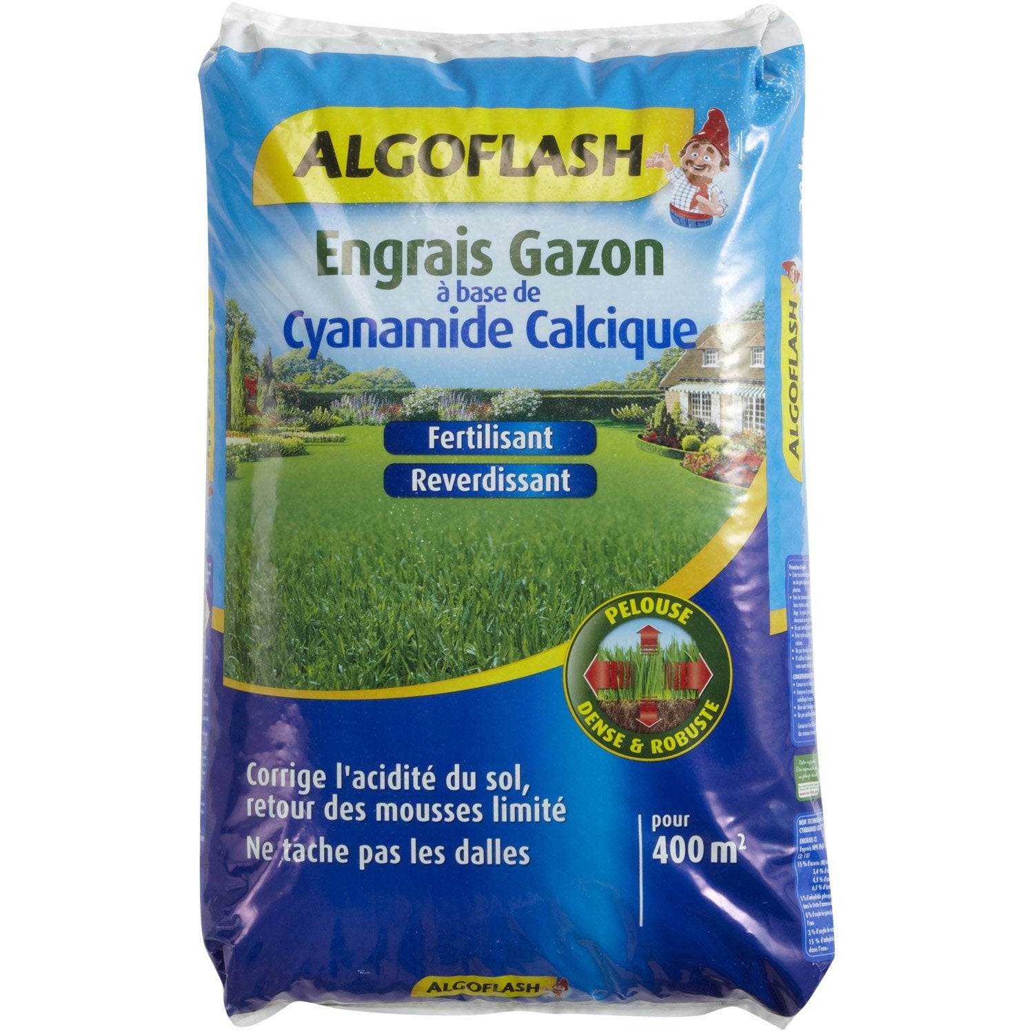 Engrais gazon antimousse algoflash 20 kg 400 m leroy - Anti mousse gazon chaux ...