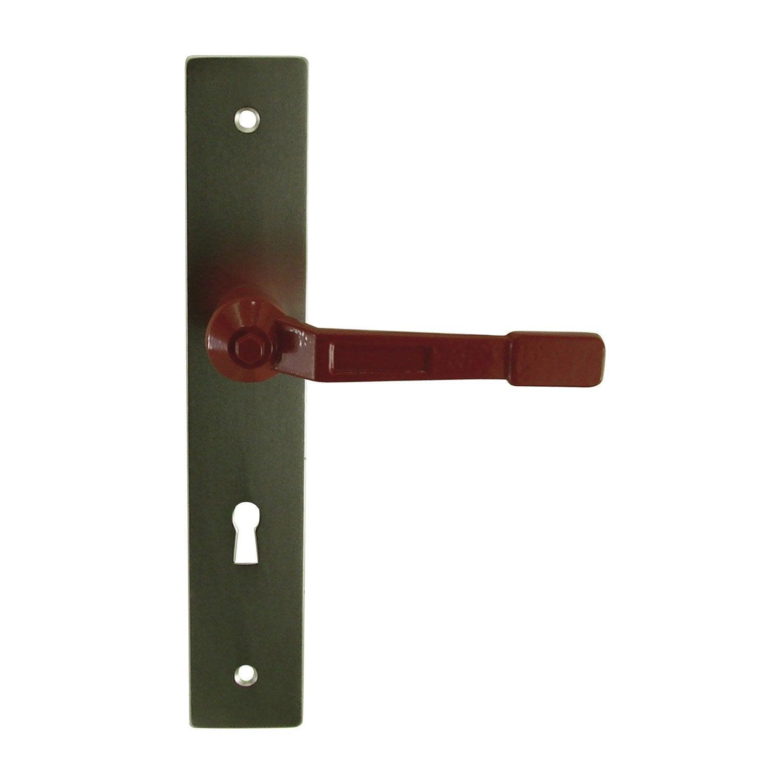 Poign e de porte vannes trou de cl aluminium 195 mm - Poignee de porte leroy merlin ...