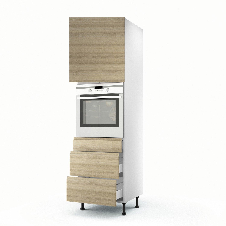 Colonne d cor ch ne blanchi 1 porte 3 tiroirs graphic h for Porte 60 x 180