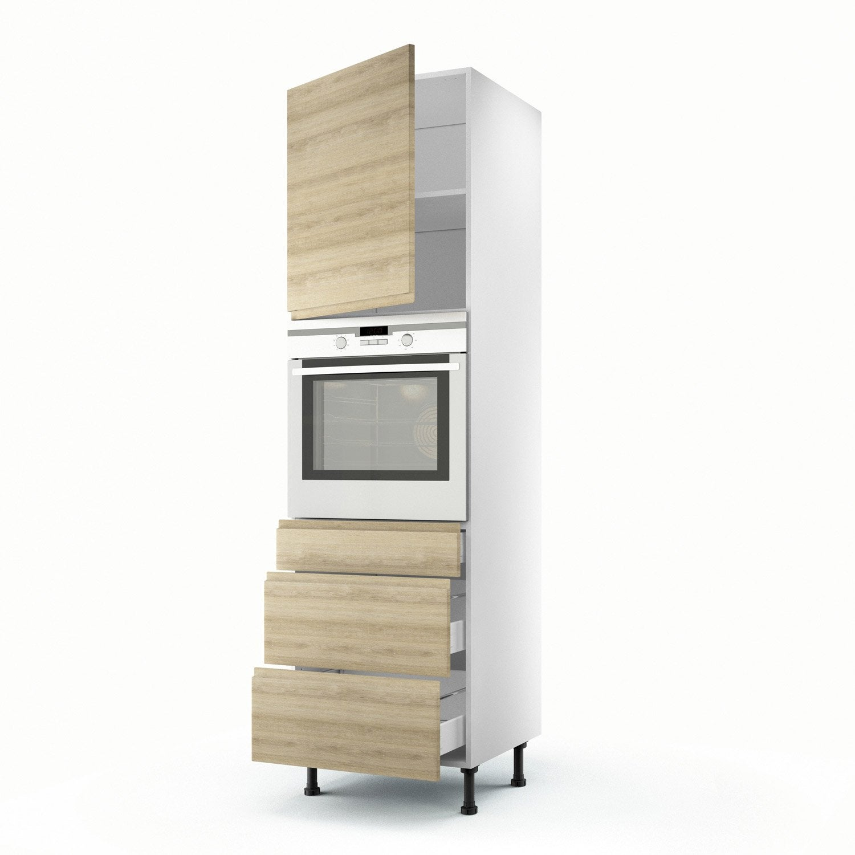 Colonne d cor ch ne blanchi 1 porte 3 tiroirs graphic h for Porte 60 x 200