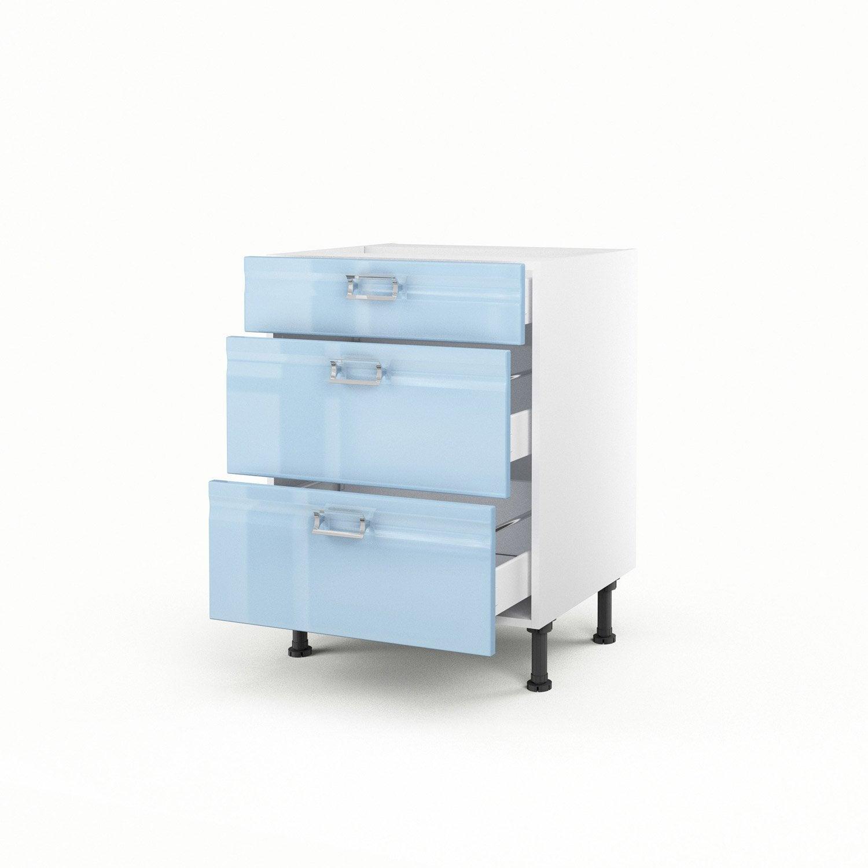 Meuble de cuisine bas bleu 3 tiroirs crystal h70xl60xp56 for Meuble cuisine bleu